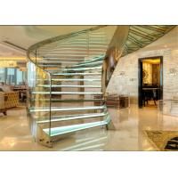 Laminated Glass Tread Building Curved Staircase With Stainless Steel Post Railing Manufactures