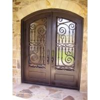 Eyebrow double door wrought iron entry doors with tempered glass lead time 30 to 35 days Manufactures