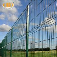 Powder Coated welded 3d curved wire mesh fence with peach type post Manufactures