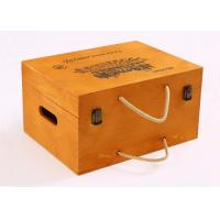 Yellow Color Personalised Wooden Wine Box Six Bottoms With Rope Handle Manufactures