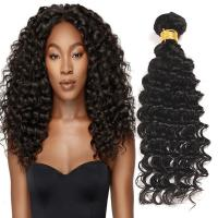 Natural Black Virgin Human Hair Bundles Without Lice / Machine Double Weft Manufactures