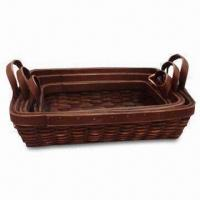 Wooden Basket, Available in Various Colors and Shapes, Made of Natural Chips Manufactures