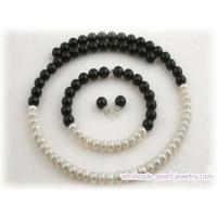 handmade memory wire pearl necklace set with black agate Manufactures