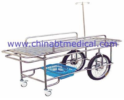 Quality Stainless steel wheeled stretcher with two big and small whee for sale