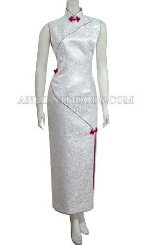 Quality White Dragon Chinese Sleeveless QiPao,Chinese Dresses,Chinese Clothing for sale