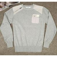 New Fashion Design PU Patch Sweater Class Cotton Knit Pullover Manufactures