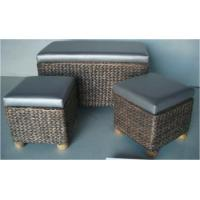 Woven Seagrass Storage Ottoman | With Safety Hinges