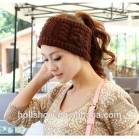 Fashion Accessories Best Selling Coffee Women Crochet Knitted Winter Headband Manufactures