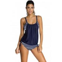 Navy Layered-Style Striped Tankini with Triangular Briefs LC41990-6 Manufactures
