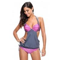 2pcs Solid Grey Splice Striped Halter Tankini Swimsuit LC41944-1 Manufactures