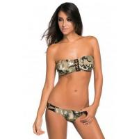 Light Camouflage Pattern Bandeau Low Rise Bikini Swimsuit LC41950-1 Manufactures