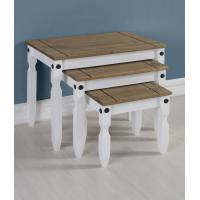Corona Nest of Tables in White/Distressed Waxed Pine Manufactures