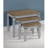 Corona Nest of Tables in Grey/Distressed Waxed Pine Manufactures