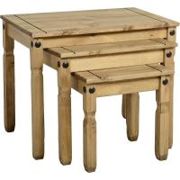 Corona Nest Of Tables in Distressed Waxed Pine Manufactures