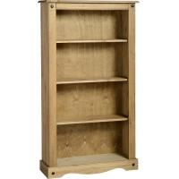 Corona Medium Bookcase in Distressed Waxed Pine Manufactures
