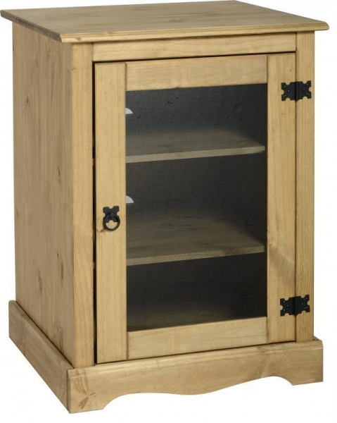 Quality Corona Hi Fi Unit in Distressed Waxed Pine/Glass for sale