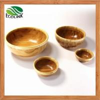China Natural Round Shaped Bamboo Salad Serving Snack Bowl Set on sale