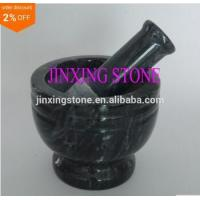 China Polished Black Marble Mortar and Pestle Set on sale