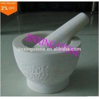 rough surface White Marble Mortar and Pestle Set Manufactures