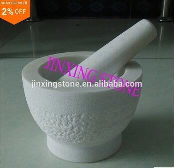 Quality rough surface White Marble Mortar and Pestle Set for sale