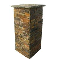 SMC-PC005 hot Sales China Natural Rusty Slate Stone Cement Pillars Manufactures