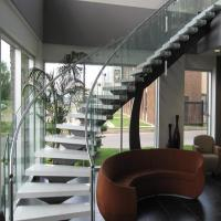 Bent Stainless Steel Handrail Used For Indoor Curved Staircase PR-C37 Manufactures