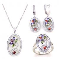 Latest Fashion Multicolor Stone Wedding Bridal Jewelry Set Manufactures