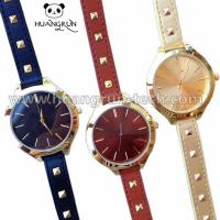 Watches Light-Gold Bezel And Hour Numbers Leathe... Manufactures