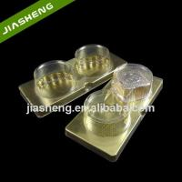 Customized Golden Plastic Cake Dessert Tray with Lid for Retail Manufactures