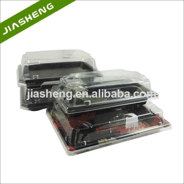 Quality Plastic Japanese Pattern Printed SUSHI Take-away Trays with Clear Snap Closed Dome Lids for sale