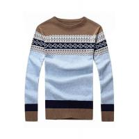 China Men's Sweater Coffee Round Neck Diamond Pattern Mens Sweater on sale