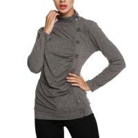 Tops & Tees Women's Long Sleeve Button Embellished High Neck Tops Manufactures