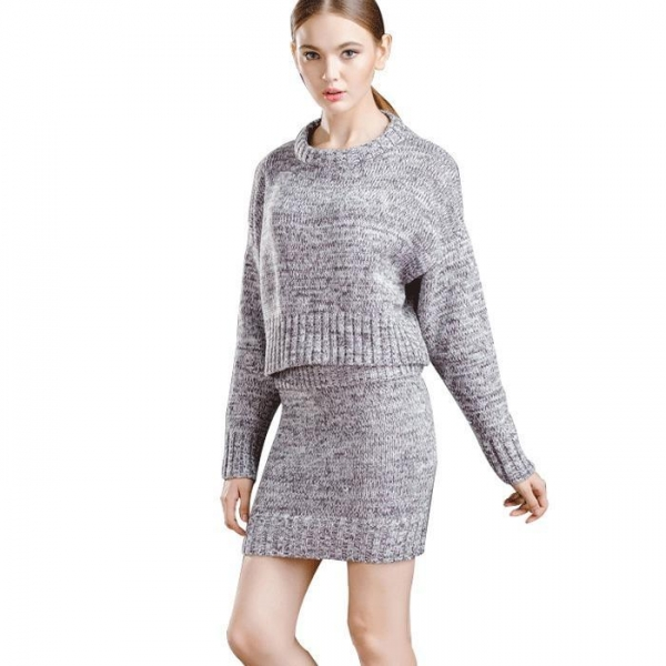 Quality Sweaters Women's Casual Long Sleeve Knit Pullover Sweater and Mini Skirt for sale