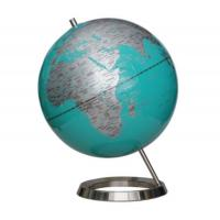 World globe D.30cm light blue globe,silk PVC printing.circle base.