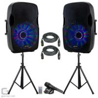 China Gemini AS-12BLU-LT-PK 3000W 12 Active Bluetooth DJ PA Speaker Package With Microphones on sale