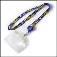 Blue Nylon Activity Item Lanyard with Bulldog Clip and PVC Card Holder Manufactures
