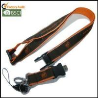 USB Woven-logo Satin Lanyards with Reflective String on Both Edges Manufactures