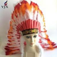 Wholesael performances indian feather headpiece carnival,Bazil carnival costume