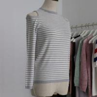 Lady Dew Shoulder Fashion Sweater with Long Sleeves and Half Manufactures