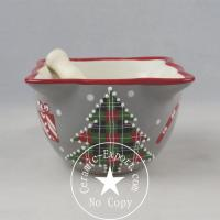 China Christmas Ceramic Wholesale Christmas Tree Ceramic Mortar with Pestle Supplier on sale