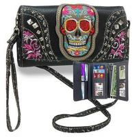 Embroidered Sugar Skull Accent Organized Wallet with Straps