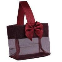 """Burgundy Sheer Tote with Satin Handle & Bow (3.25"""" x 3.25"""" x 2""""), 12 bags SHTOTE-BU-D Manufactures"""