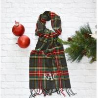 Monogrammed Plaid Scarf - Charcoal Red & Green Manufactures