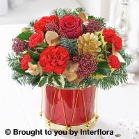 Festive Floral Drum with 180g Maison Fougere Belgian Chocolate Dessert Selection