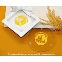 White Glass Coaster Gift Box w/ Clear Window & Satin Bow Manufactures