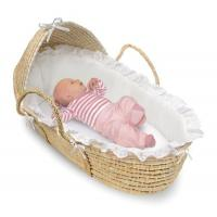 Natural Wicker Moses Baby Basket with Hood and White Bedding Manufactures