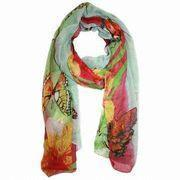 Fashion Scarf, Women's Sheer Butterfly Printed Scarf, Green Scarf