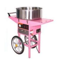 Candy floss machine with wheels