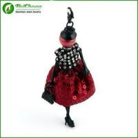 Black Plated Alloy Fashion Jewelry Necklace With Dress Baby Doll Charm Manufactures