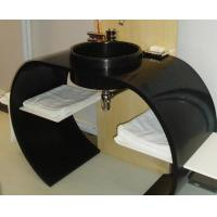 bathroom countertops with sink Custom size black solid surface countertop BBCT-001 Manufactures